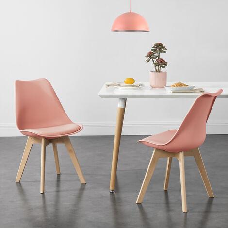 Juego de sillas de comedor - 81 x 49 x 57 cm - Silla tapizada en cuero sintético - Patas de madera de haya - Sillas de Cocina - Set de 2 sillas - Color rosa