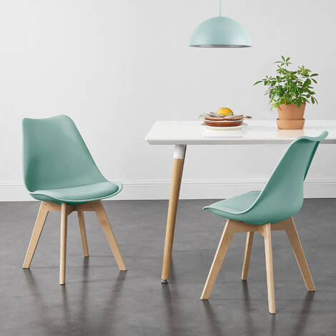 Juego de sillas de comedor - 81 x 49 x 57 cm - Silla tapizada en cuero sintético - Patas de madera de haya - Sillas de Cocina - Set de 2 sillas - Color verde menta