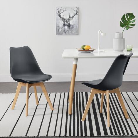 Juego de sillas de comedor - 81 x 49 x 57 cm - Silla tapizada en cuero sintético - Patas de madera de haya - Sillas de Cocina - Set de 2 sillas - Gris