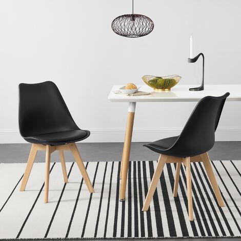 Juego de sillas de comedor - 81 x 49 x 57 cm - Silla tapizada en cuero sintético - Patas de madera de haya - Sillas de Cocina - Set de 2 sillas - Negro
