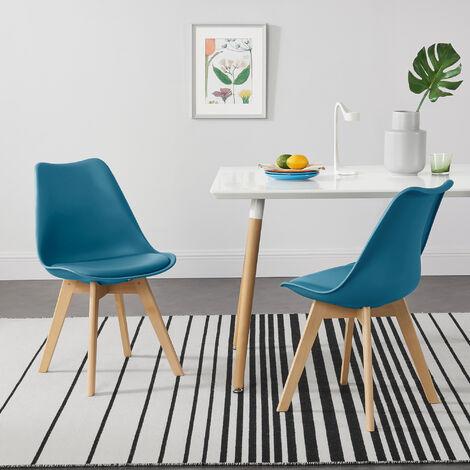 Juego de sillas de comedor - 81 x 49 x 57 cm - Silla tapizada en cuero sintético - Patas de madera de haya - Sillas de Cocina - Set de 2 sillas - Turquesa