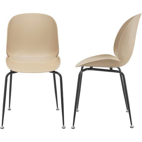Juego de Sillas de Comedor - 85 x 46 x 58 cm - Set de 2 Sillas de Oficina de diseño - Asientos cómodos de Cocina - Beige