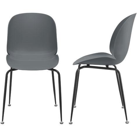 Juego de Sillas de Comedor - 85 x 46 x 58 cm - Set de 2 Sillas de Oficina de diseño - Asientos cómodos de Cocina - Gris