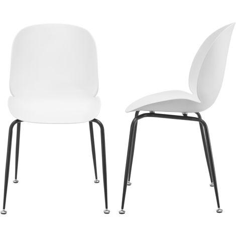 Juego de sillas de comedor - 85 x 46 x 58 cm - Sillas para Oficina - Patas de metal - Sillas de Cocina - Set de 2 sillas - Blanco