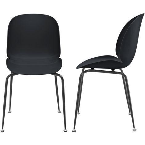 Juego de sillas de comedor - 85 x 46 x 58 cm - Sillas para Oficina - Patas de metal - Sillas de Cocina - Set de 2 sillas - Negro
