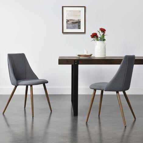 Juego de sillas de comedor - Asiento Tapizado en tela - 83 x 50 x 53 cm - Set de 2x sillas de cocina - Sillas de Oficina - Gris oscuro