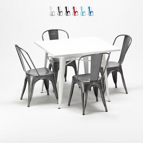 Juego de sillas de metal estilo Tolix y mesa cuadrada de madera diseño industrial HARLEM