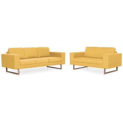 Juego de sofás 2 piezas de tela amarillo