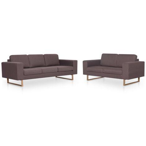 Juego de sofás 2 piezas de tela gris taupe