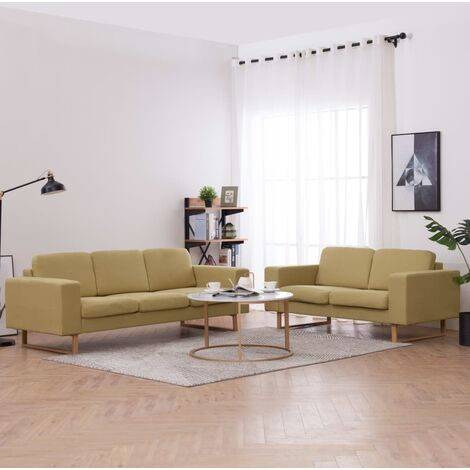 Juego de sofás 2 piezas de tela verde