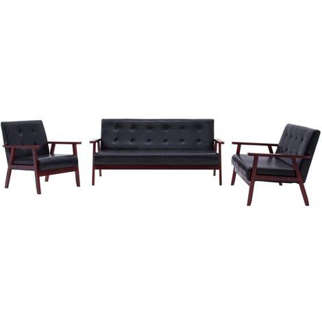 Juego de sofás 3 piezas de cuero sintético negro