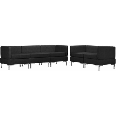 Juego de sofás 5 piezas de tela negro