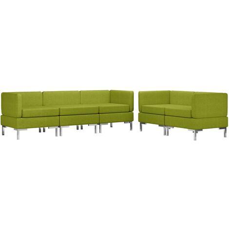 Juego de sofás 5 piezas de tela verde