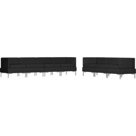 Juego de sofás 7 piezas de tela negro