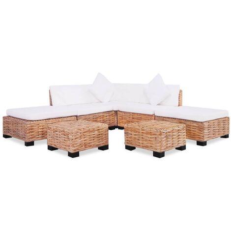 Juego de sofás de 18 piezas ratán natural