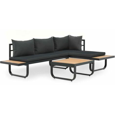 Juego de sofás de esquina 2 piezas con cojines aluminio WPC
