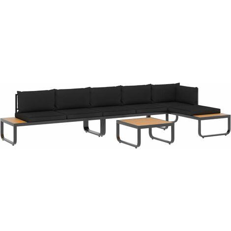 Juego de sofás de esquina 4 piezas con cojines aluminio y WPC