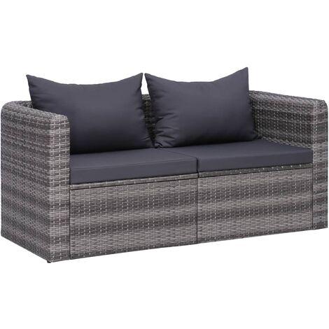 Juego de sofás de esquina de jardín 2 piezas ratán PE gris