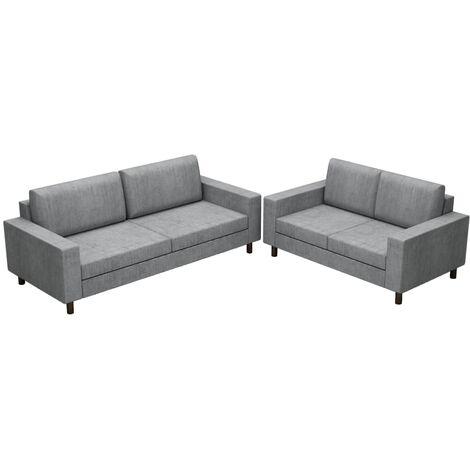 Juego de sofás para 5 personas 2 unidades tela gris claro