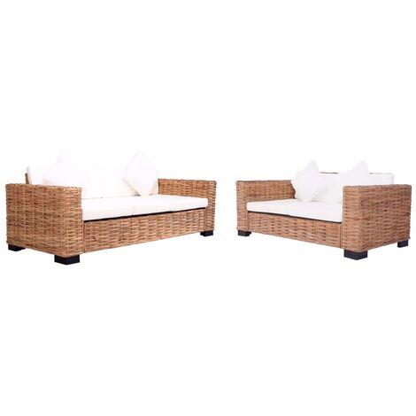 Juego de sofás para jardín con cojines 2 piezas ratán natural