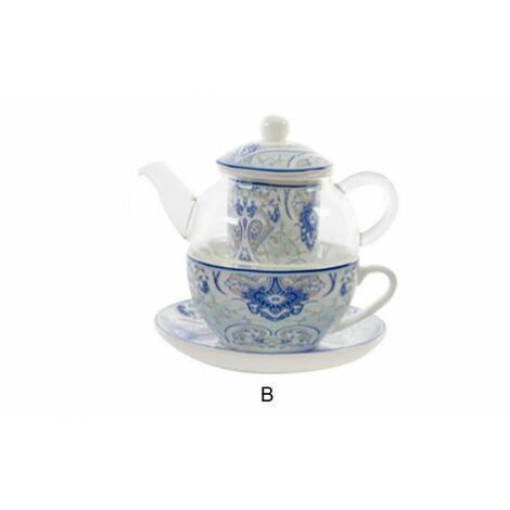 Juego de Té con tetera y taza con diseño colorido de porcelana y cristal B