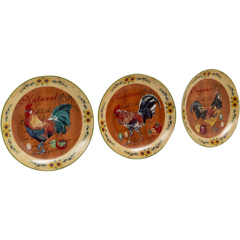 Juego de tres platos de cerámica con adornos para colgar en la pared 20X20X2 cm