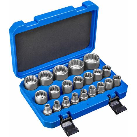 Juego de tubulares dentados exterior 21 piezas - conjunto de llaves tubulares con maletín, kit de llaves de acero cromo vanadio dentadas, pack de herramientas manuales para taller - azul
