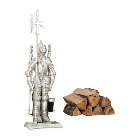 Juego de Utensilios Chimenea en Forma de Caballero Medieval, Hierro Fundido, Plateado, 72x21x12.5 cm, 4 Piezas