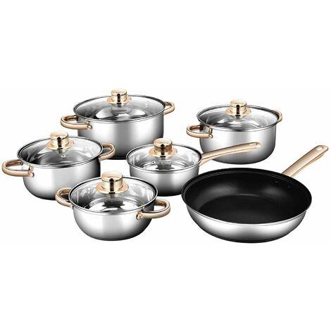 Juego de Utensilios de Cocina con Tapa Batería de Cocina para Lavavajillas, para Horno hasta 250 ℃, para Estufas de Inducción Eléctricas Gas