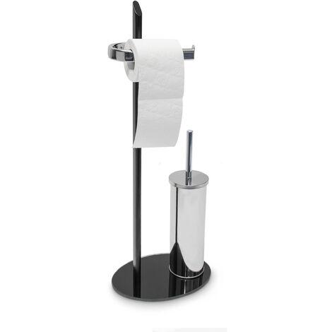Juego KLAAS portarollos, escobillero y escobilla , 70 x 28 x 20 cm, hierro, pie de vidrio, color plata y negro