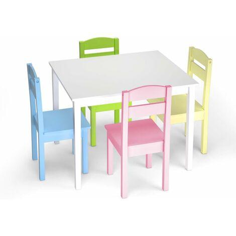 Juego Mueble para Ni�os Mesa y 4 Sillas de Madera Escritorio para Infantil Dormitorio Sala de Juego Color Claro