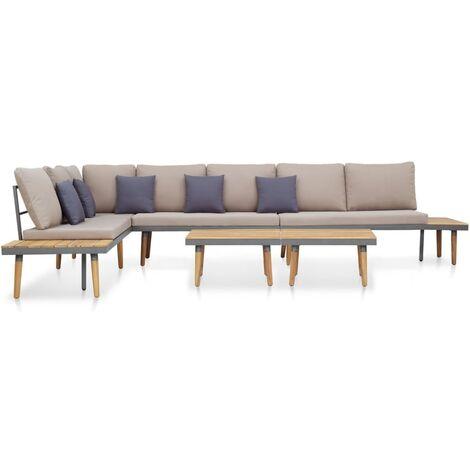 Juego muebles de jardín 5 pzas y cojines madera acacia marrón