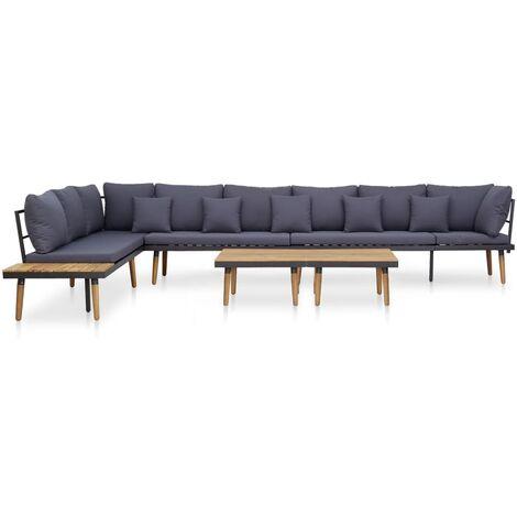 Juego muebles de jardín 7 piezas y cojines madera acacia maciza