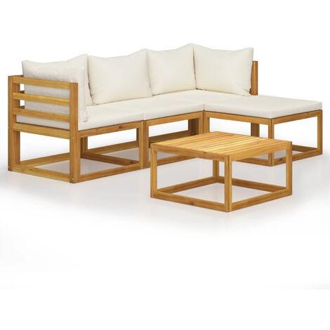 Juego muebles de jardin y cojines 5 piezas madera maciza acacia