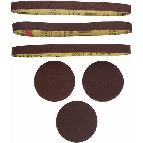 Juego papel de lija, disco y banda, para lijadora BTS800 - Scheppach - 3903301707