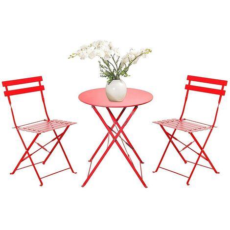 Juego retro de 2 sillas + mesa plegable para el jardín, balcón, veranda y terraza - Juego de muebles de exterior de acero inoxidable. Color rojo