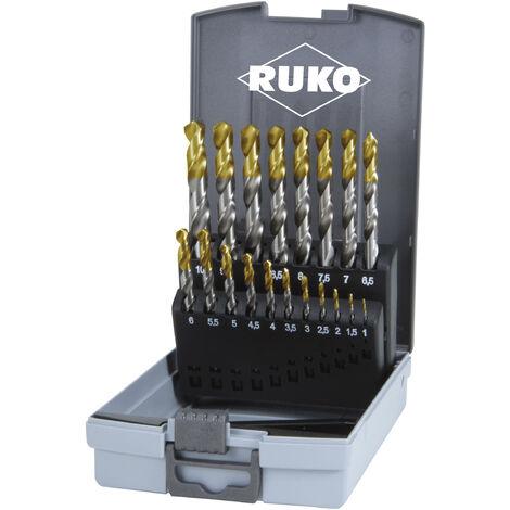 Juegos de brocas helicoidales DIN 338 tipo N, HSS-G con puntas TiN - ruko_2501214TRO