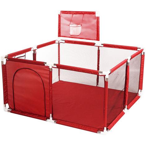 Juegos de seguridad para cercas de corralitos para bebés con canasta de baloncesto azul Sasicare