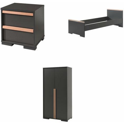 Jugendzimmer Ira Vipack inklusive Bett 90*200 cm +Nachtkonsole +Kleiderschrank hochwertiges MDF Holz Grau