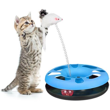 Juguete Gato con Ratón y Bola con Cascabel, Cat Toy, Plástico y Hierro, Azul Claro