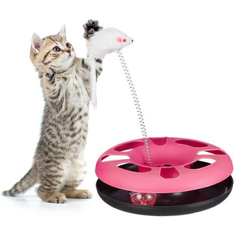 Juguete Gato con Ratón y Bola con Cascabel, Cat Toy, Plástico y Hierro, Rosa