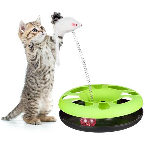 Juguete Gato con Ratón y Bola con Cascabel, Cat Toy, Plástico y Hierro, Verde