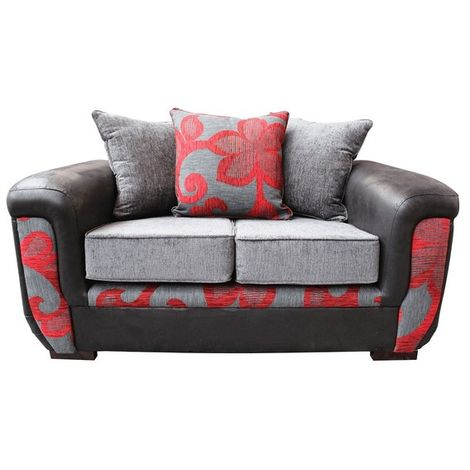 Julia 2 Seater Fabric Sofa Upholstered In Charcoal Red