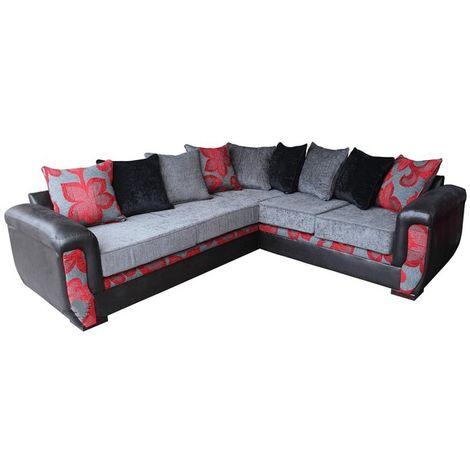 Julia Designer 3 Seater + Corner + 2 Seater Fabric Corner Suite Floral Charcoal/Red
