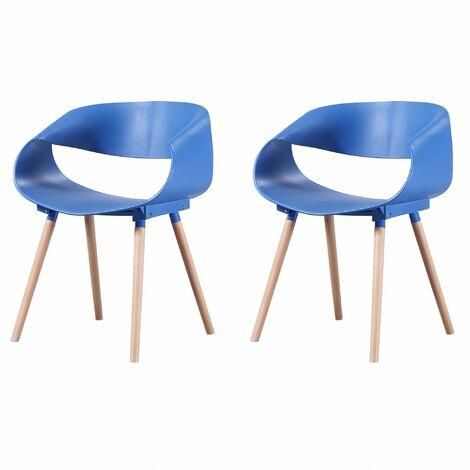 JULIA - Lot de 2 chaises scandinave - Bleu Canard - pieds en bois massif design salle à manger salon chambre - 55,5 x 62 x 76 cm - Bleu Canard