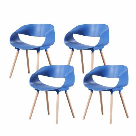 JULIA - Lot de 4 chaises scandinave - Gris - pieds en bois massif design salle a manger salon chambre - 55,5 x 62 x 76 cm - Gris