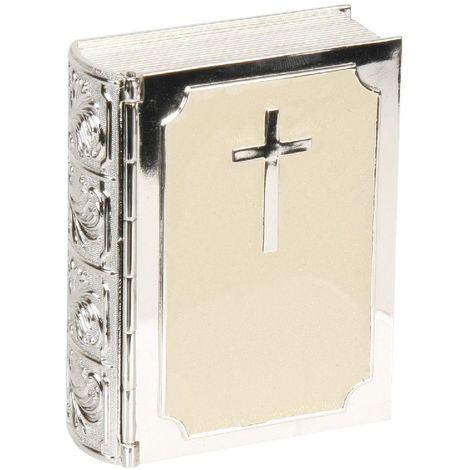 Juliana Silverplated & Cream Epoxy Trinket Box - Bible