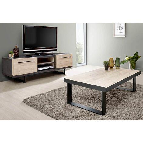 "main image of ""JULIANE - Ensemble Table Basse + Meuble TV Bois et Anthracite"""