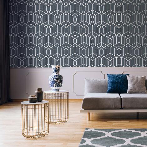 Julien MacDonald Disco Vogue Navy Geometric Wallpaper