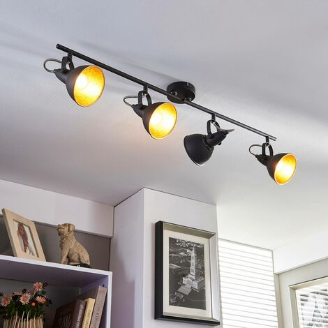 Julin - lampada da cucina a 4 luci nero e oro -
